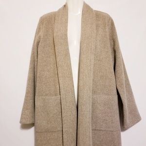 Eileen Fisher Wool Coat, Open Shawl Collar